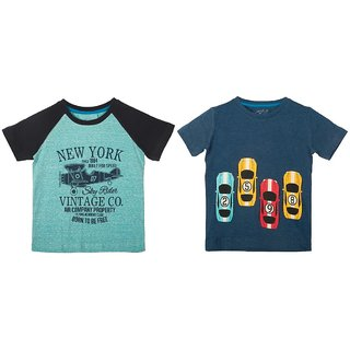 Lazy Shark Cotton Short Sleeve Printed Blue & Navy Blue T-shirts (Pack of 2)