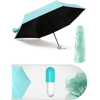 Home Story Designer Ultra Mini UV Coated 4-Fold Travel Capsule Umbrella 100 cm Paled Turquoise Color