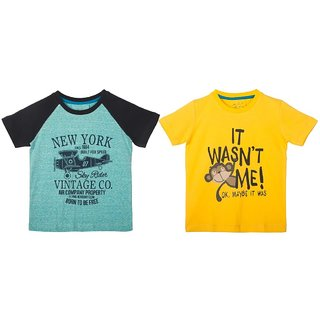 Lazy Shark Cotton Short Sleeve Printed Blue & Yellow T-shirts (Pack of 2)