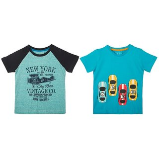 Lazy Shark Cotton Short Sleeve Printed Blue & Blue T-shirts (Pack of 2)