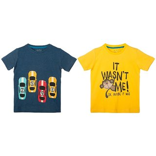 Lazy Shark Cotton Short Sleeve Printed Navy Blue & Yellow T-shirts (Pack of 2)