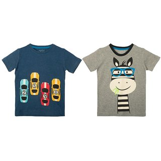 Lazy Shark Cotton Short Sleeve Printed Navy Blue & Grey T-shirts (Pack of 2)