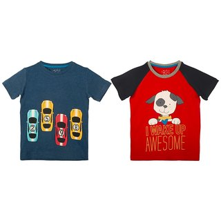 Lazy Shark Cotton Short Sleeve Printed Navy Blue & Red T-shirts (Pack of 2)