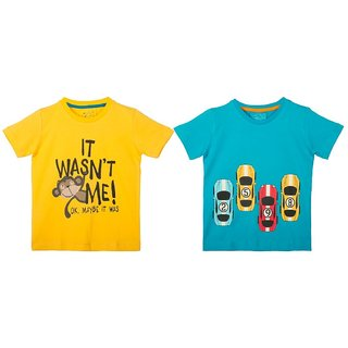 Lazy Shark Cotton Short Sleeve Printed Yellow & Blue T-shirts (Pack of 2)