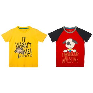 Lazy Shark Cotton Short Sleeve Printed Yellow & Red T-shirts (Pack of 2)