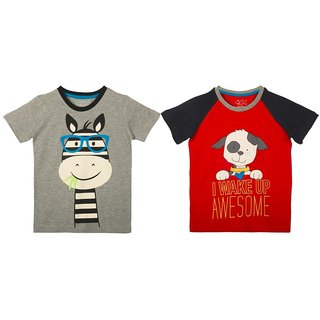 Lazy Shark Cotton Short Sleeve Printed Grey & Red T-shirts (Pack of 2)