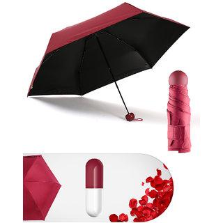 Home Story Designer Ultra Mini UV Coated 4-Fold Travel Capsule Umbrella 100 cm Sangria Red Color