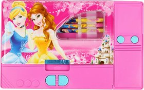 DOUBLE SIDED JUMBO PENCIL BOX GADGET DISNEY PRINCESS , BARBIE , DORA CHARACTERS FOR KIDS ( PINK )