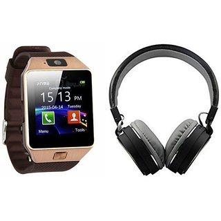 Zemini DZ09 Smartwatch and MS 771C Bluetooth Headphone for MICROMAX CANVAS SELFIE 2(DZ09 Smart Watch With 4G Sim Card, Memory Card| MS 771C Bluetooth Headphone)
