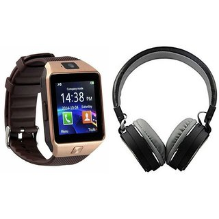 Zemini DZ09 Smartwatch and MS 771C Bluetooth Headphone for MICROMAX BOLT Q324(DZ09 Smart Watch With 4G Sim Card, Memory Card| MS 771C Bluetooth Headphone)