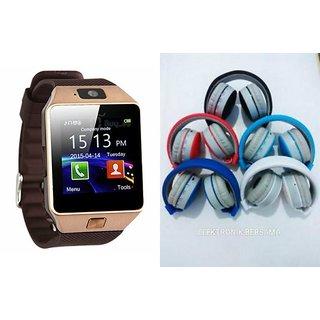 Zemini DZ09 Smartwatch and MS 771C Bluetooth Headphone for SAMSUNG GALAXY E 5(DZ09 Smart Watch With 4G Sim Card, Memory Card  MS 771C Bluetooth Headphone)