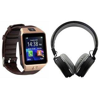 Zemini DZ09 Smartwatch and MS 771C Bluetooth Headphone for SAMSUNG GALAXY A8(DZ09 Smart Watch With 4G Sim Card, Memory Card| MS 771C Bluetooth Headphone)