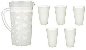 Sugam Plastic Lemon Jug And Glass Set, 7-Piece, White