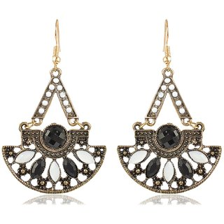 Sanaa Creations Silver Plated Black and Gold Alloy valentine special gifts Dangle  Drop Earrings for Women