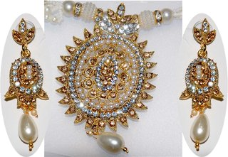 White Pearls Neckless with Golden color Pendent and Earring