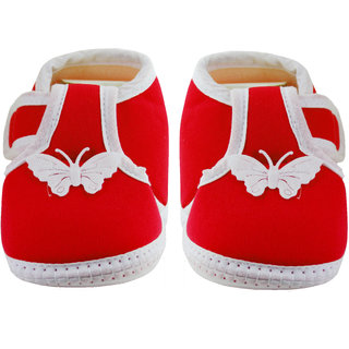 Neska Moda Baby Boys and Girls Butterfly Red Booties For 0 To 12 Months Infants BT5