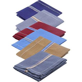 Aadikart Men's Color Cotton Handkerchief -pack of 6