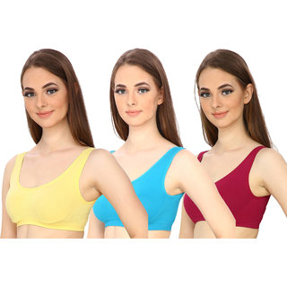 Hothy  Yellow Cyan  Maroon Sports Air Bra ( Pack Of 3)