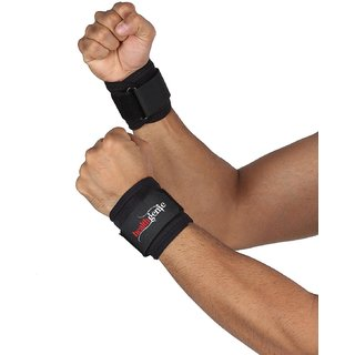 Healthgenie Wrist Support One Size Adjustable (Black) / 1 Pair