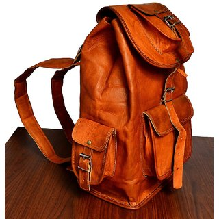 b0963be50a4f Buy znt leather 16 Genuine Leather Retro Rucksack Backpack College ...