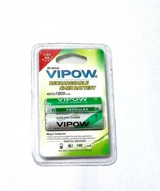 VIPOW 2 X AA RECHARAGEABLE NI-MH BATTERY. 1800 mah High Quality