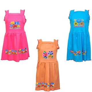 Pari  Prince Girls Colorful Frocks (Set of 3)
