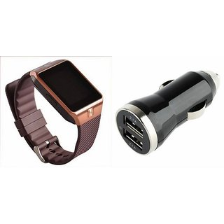 Zemini DZ09 Smart Watch and Car Charger for MICROMAX CANVAS L(DZ09 Smart Watch With 4G Sim Card, Memory Card| Car Charger)