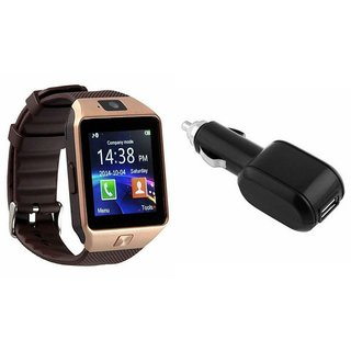 Zemini DZ09 Smart Watch and Car Charger for XOLO X910(DZ09 Smart Watch With 4G Sim Card, Memory Card| Car Charger)