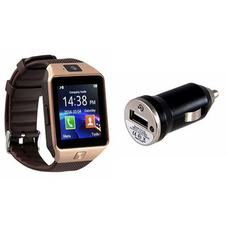 Zemini DZ09 Smart Watch and Car Charger for MICROMAX CANVAS FIRE A 104(DZ09 Smart Watch With 4G Sim Card, Memory Card  Car Charger)
