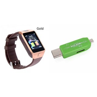 Zemini DZ09 Smart Watch and Card Reader for MICROMAX CANVAS 2 COLOURS(DZ09 Smart Watch With 4G Sim Card, Memory Card| Card Reader, Mobile Card Reader)