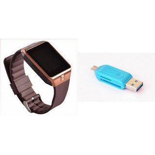 Zemini DZ09 Smart Watch and Card Reader for MICROMAX BOLT A069(DZ09 Smart Watch With 4G Sim Card, Memory Card| Card Reader, Mobile Card Reader)
