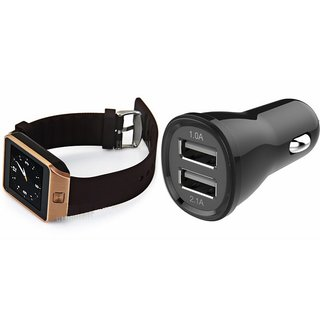 Zemini DZ09 Smart Watch and Car Charger for INFOCUS M370(DZ09 Smart Watch With 4G Sim Card, Memory Card| Car Charger)