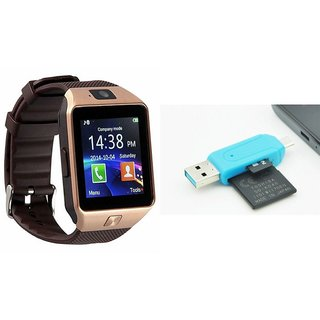 Zemini DZ09 Smart Watch and Card Reader for MICROMAX CANVAS HUE 2(DZ09 Smart Watch With 4G Sim Card, Memory Card| Card Reader, Mobile Card Reader)