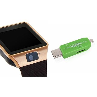 Zemini DZ09 Smart Watch and Card Reader for HTC DESIRE 816G (2015)(DZ09 Smart Watch With 4G Sim Card, Memory Card| Card Reader, Mobile Card Reader)