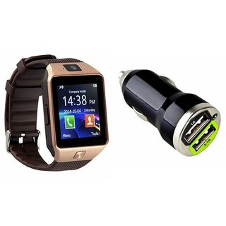Zemini DZ09 Smart Watch and Car Charger for HTC DESIRE SV(DZ09 Smart Watch With 4G Sim Card, Memory Card| Car Charger)