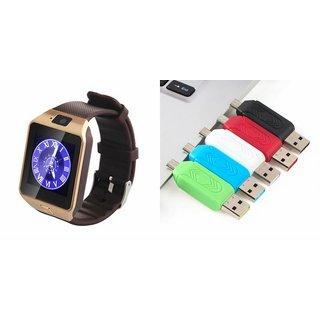 Zemini DZ09 Smart Watch and Card Reader for HTC DESIRE 620G DUAL SIM(DZ09 Smart Watch With 4G Sim Card, Memory Card| Card Reader, Mobile Card Reader)