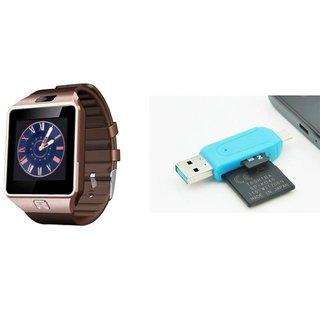 Zemini DZ09 Smart Watch and Card Reader for HTC DESIRE 620 DUAL SIM(DZ09 Smart Watch With 4G Sim Card, Memory Card| Card Reader, Mobile Card Reader)
