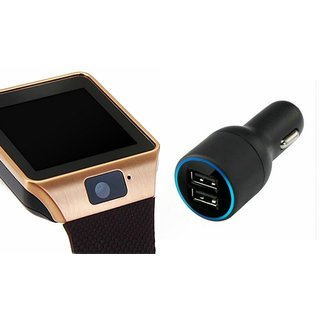 Zemini DZ09 Smart Watch and Car Charger for SAMSUNG GALAXY A 5 DUOS(DZ09 Smart Watch With 4G Sim Card, Memory Card| Car Charger)
