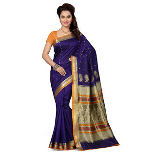 best deals Purple Silk Self Design Saree With Blouse