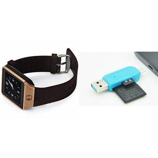 Zemini DZ09 Smart Watch and Card Reader for HTC DESIRE 516 DUAL SIM(DZ09 Smart Watch With 4G Sim Card, Memory Card| Card Reader, Mobile Card Reader)