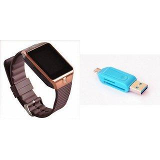 Zemini DZ09 Smart Watch and Card Reader for HTC DESIRE 210 DUAL SIM(DZ09 Smart Watch With 4G Sim Card, Memory Card  Card Reader, Mobile Card Reader)