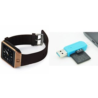 Zemini DZ09 Smart Watch and Card Reader for SAMSUNG GALAXY ACE 4 (DZ09 Smart Watch With 4G Sim Card, Memory Card| Card Reader, Mobile Card Reader)