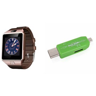 Zemini DZ09 Smart Watch and Card Reader for SAMSUNG GALAXY J 1 4G(DZ09 Smart Watch With 4G Sim Card, Memory Card| Card Reader, Mobile Card Reader)