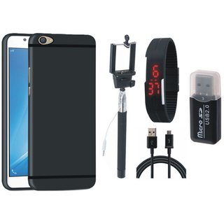 Vivo Y53 Silicon Slim Fit Back Cover with Memory Card Reader, Selfie Stick, Digtal Watch and USB Cable