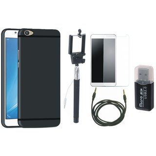 Vivo Y55 Silicon Slim Fit Back Cover with Memory Card Reader, Free Selfie Stick, Tempered Glass and AUX Cable