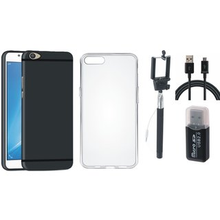 Vivo Y55L Silicon Slim Fit Back Cover with Memory Card Reader, Silicon Back Cover, Selfie Stick and USB Cable