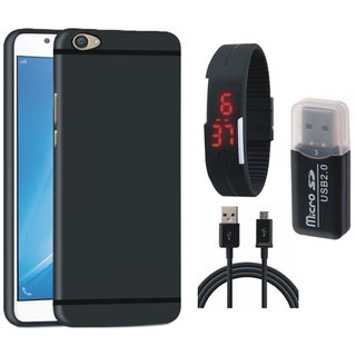 Vivo Y53 Silicon Slim Fit Back Cover with Memory Card Reader, Digital Watch and USB Cable