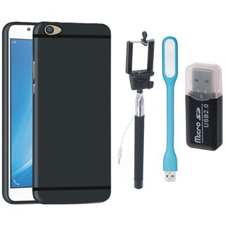 Vivo Y53 Silicon Slim Fit Back Cover with Memory Card Reader, Selfie Stick and USB LED Light