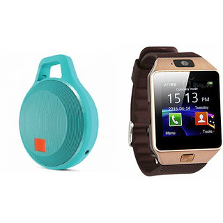 Zemini DZ09 Smart Watch and Clip Plus Bluetooth Speaker for SONY xperia neo v(DZ09 Smart Watch With 4G Sim Card, Memory Card  Clip Plus Bluetooth Speaker)