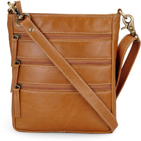 The House of Tara Cross Body Messenger Bag in Leather (Tan)